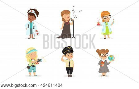 Cute Boys And Girls Of Different Professions Set, Doctor, Singer, Scientist, Photographer, Policeman