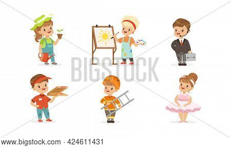 Cute Boys And Girls Of Different Professions Set, Farmer, Artist, Businessman, Courier, Firefighter,