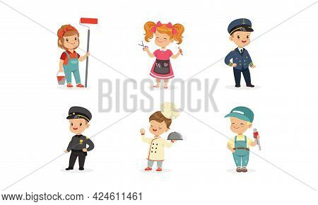 Cute Boys And Girls Of Different Professions Set, Painter, Hairdresser, Pilot, Policeman, Cook, Plum