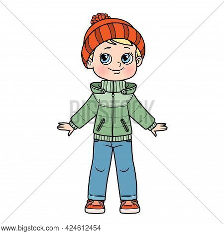 Cartoon Boy In Warm Demi-season Jacket, Jeans, Knitted Hat With A Pompom And Sneakers  Color Variati