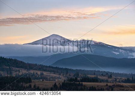 Picturesque Morning Above Late Autumn Mountain Countryside.  Ukraine, Carpathian Mountains, Petros T