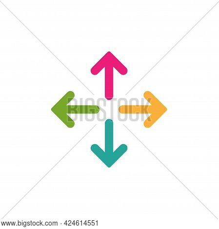 Four Colorful Arrows Point Out From The Center. Expand Arrows Icon. Outward Directions Icon. Vector