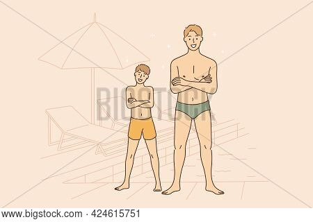 Summer Day And Vacations Concept. Smiling Happy Man Father And Boy His Son In Swimming Suits Cartoon
