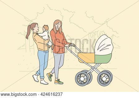 Motherhood And Maternity Happiness Concept. Female Friends Cartoon Characters Walking With Baby In S