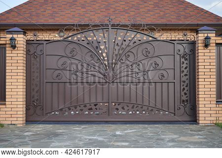 Luxury Metal Wrought Side Sliding Gates With Ornate Elements.
