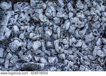 Coal Wood Ash With Natural Light After Cooking Barbecue.