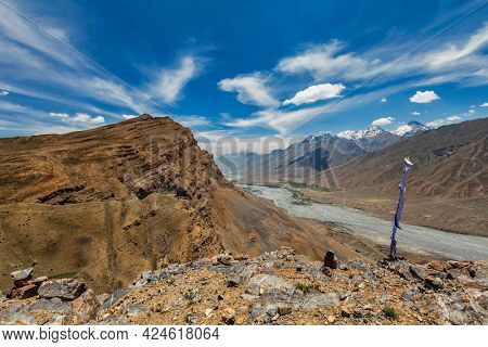View of Spiti valley in Himalayas. Spiti valley, Himachal Pradesh, India
