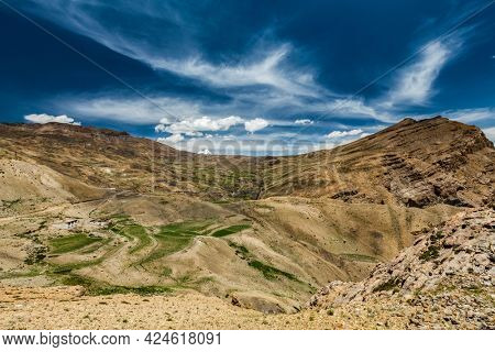 View of Gete village in Spiti valley in Himalayas. Spiti valley, Himachal Pradesh, India