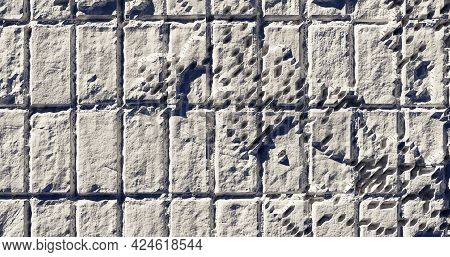 Tile Wall Abstract With Contrast Shadow 3d Rendering