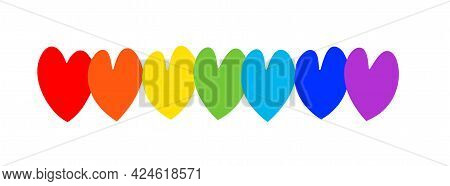 Vector Image Of Seven Multi-colored Hearts. Hearts Are Symbols Of Love Painted With Bright Colors Of