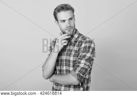 Casual Style. Masculinity Concept. Man Beauty Model. Interesting Idea On His Mind. Menswear Shop. Ma