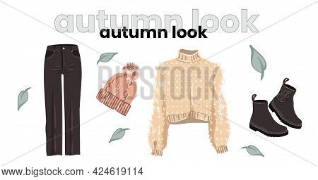 Fashionable Autumn Look. Feminine Style For Autumn. Illustration For A Fashion Magazine.clothes In F