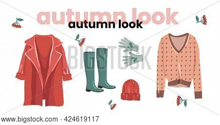 Fashionable Autumn Look In Trendy Colors. Feminine Style For Autumn. Illustration For A Fashion Maga