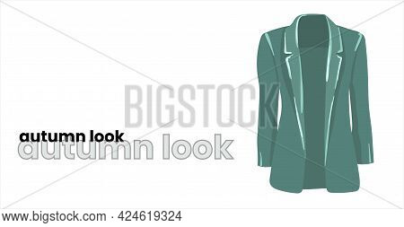 Mint-colored Trench Coat, Isolated On A White Background. Green Jacket In Fashionable Colors. Fashio