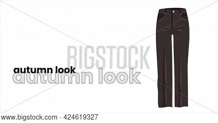Black Straight Women's Trousers, Isolated On A White Background. Dark Brown Flared Jeans For Girls.