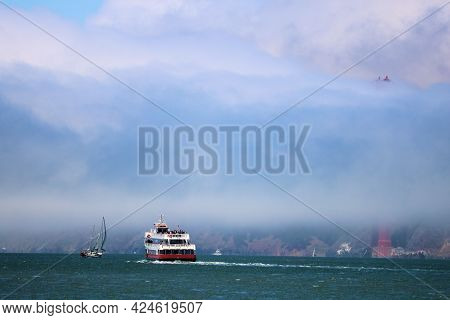 June 8, 2021 In San Francisco, Ca:  Sightseeing Boat Riding On The San Francisco, Ca Bay Towards The