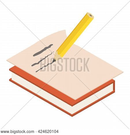 Write Pencil Icon. Isometric Illustration Of Write Pencil Vector Icon For Web