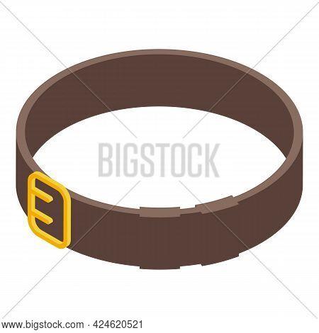 Leather Belt Icon Isometric Vector. Men Fashion Buckle Belt. Clothing Waist Strap