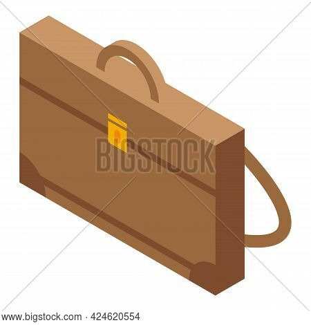 Leather Briefcase Icon Isometric Vector. Travel Case Bag. Work Valise Briefcase