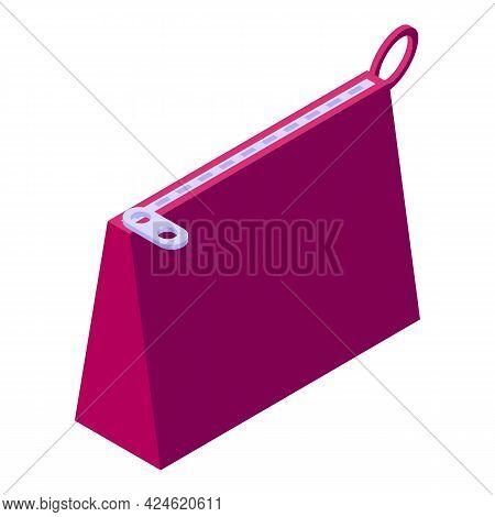 Textile Bag Icon Isometric Vector. Eco Canvas Handbag. Cotton Bag