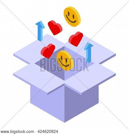 Marketing Box Icon Isometric Vector. Internet Web Market. Global Delivery