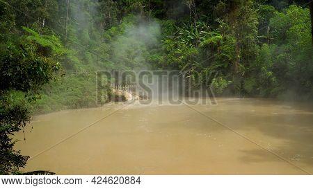 Lake Near The Apo Volcano In A Rainforest In The Mountains. Lake Agco, Mindanao, Philippines. Mud La