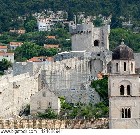 A Wonderful View Over The Coastal Historic City Of Dubrovnik, Croatia With It's Domed Cathedral And