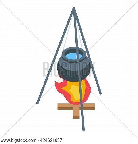 Camp Cauldron Icon Isometric Vector. Cooking Fire Pot. Campfire Iron Caldron