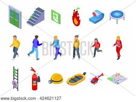 Human Evacuation Icons Set. Isometric Set Of Human Evacuation Vector Icons For Web Design Isolated O