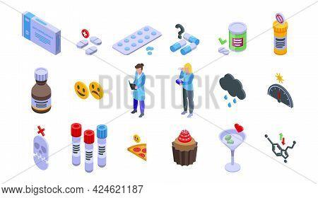Antidepressant Icons Set. Isometric Set Of Antidepressant Vector Icons For Web Design Isolated On Wh