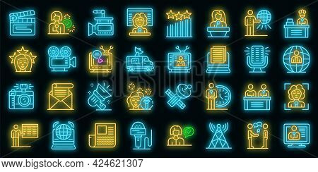 Tv Presenter Icons Set. Outline Set Of Tv Presenter Vector Icons Neon Color On Black