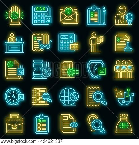 Tax Inspector Icons Set. Outline Set Of Tax Inspector Vector Icons Neon Color On Black