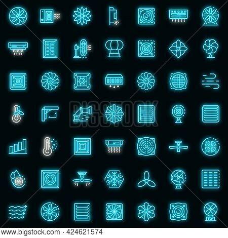 Ventilation Icons Set. Outline Set Of Ventilation Vector Icons Neon Color On Black