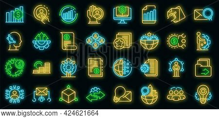 Restructuring Icons Set. Outline Set Of Restructuring Vector Icons Neon Color On Black