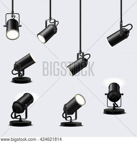 Vector Set Of Ceiling And Floor Spotlights Fixtures.