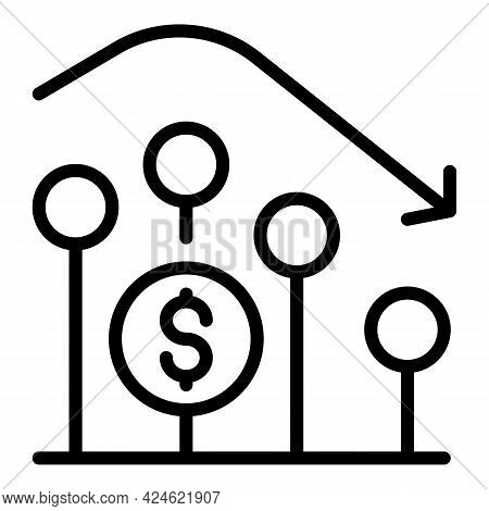 Narrow Market Graph Icon. Outline Narrow Market Graph Vector Icon For Web Design Isolated On White B