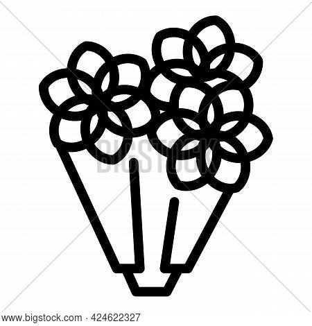 Flora Flower Bouquet Icon. Outline Flora Flower Bouquet Vector Icon For Web Design Isolated On White