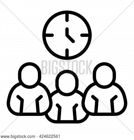 Late Work Group Icon. Outline Late Work Group Vector Icon For Web Design Isolated On White Backgroun