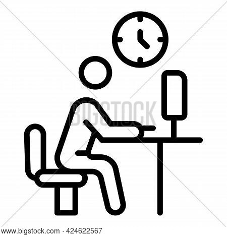 Late Work Computer Icon. Outline Late Work Computer Vector Icon For Web Design Isolated On White Bac