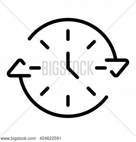 Late Work Timing Icon. Outline Late Work Timing Vector Icon For Web Design Isolated On White Backgro