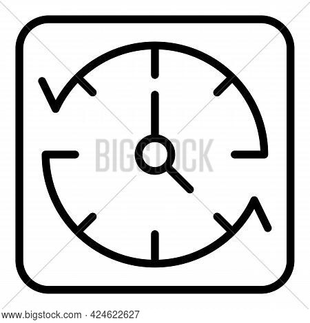 Late Work Wall Clock Icon. Outline Late Work Wall Clock Vector Icon For Web Design Isolated On White