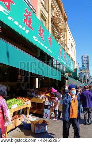 June 8, 2021 In San Francisco, Ca:  Food Market Which Sells Groceries Including Produce Taken At Chi