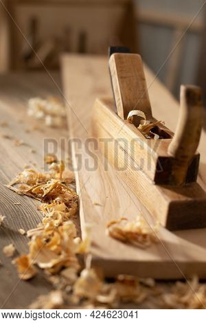 Woodworking tools on wooden table. Wood working or joiner tool as still life. Carpentry workshop