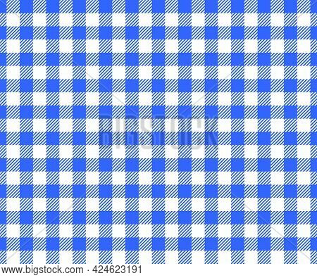 Blue And White Checkered Background With Striped Squares For Picnic Blanket, Tablecloth, Plaid, Shir