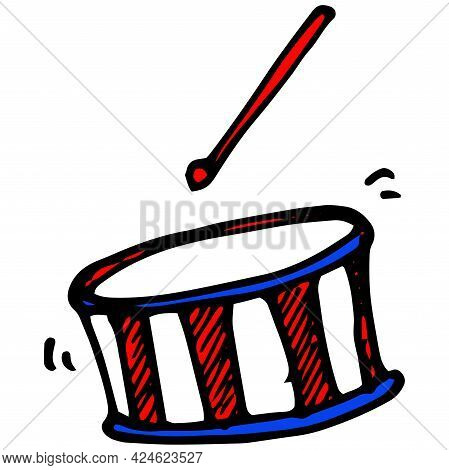 Doodle Drum With Drum Sticks In Cartoon Style On Black Background.vector Drum In A Color Pattern Wit