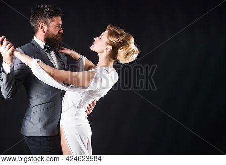 Ballroom Dance. Couple Dancing Tango. Passion And Love Concept.