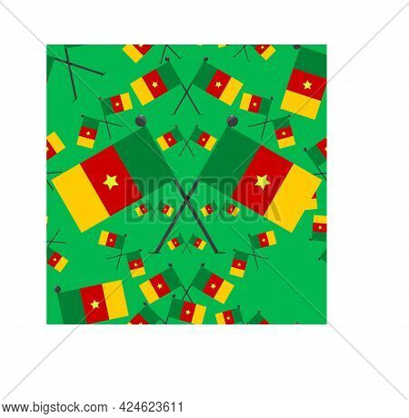 Vector Illustration Of Pattern Cameroon Flags And Green Colors Background