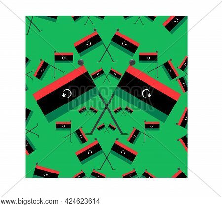 Vector Illustration Of Pattern Libya Flags And Green Colors Background