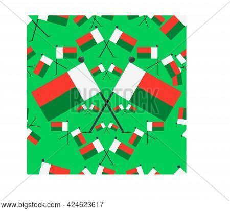 Vector Illustration Of Pattern Madagascar Flags And Green Colors Background