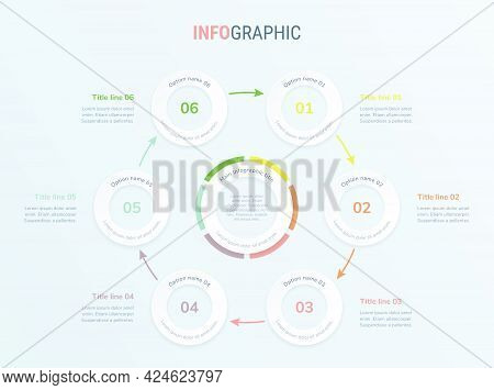 Vintage Timeline Infographic Design Vector. 6 Steps, Rounded Workflow Layout. Vector Infographic Tim